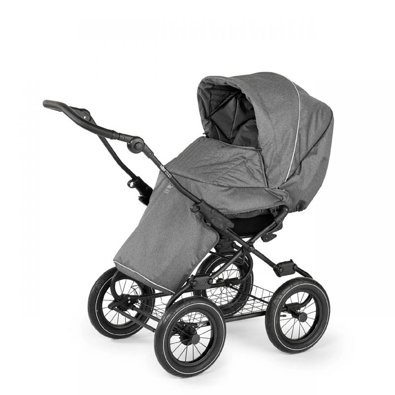 Nordic Crown Promenade with black chassis in dark grey sitting footmuff