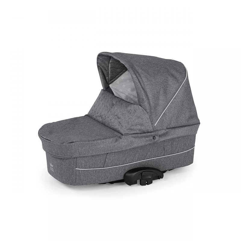 Nordic Crown Promenade with black chassis in dark grey carrycot