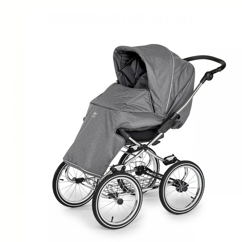 Nordic Crown stroller elegant in dark grey sitting unit with footmuff