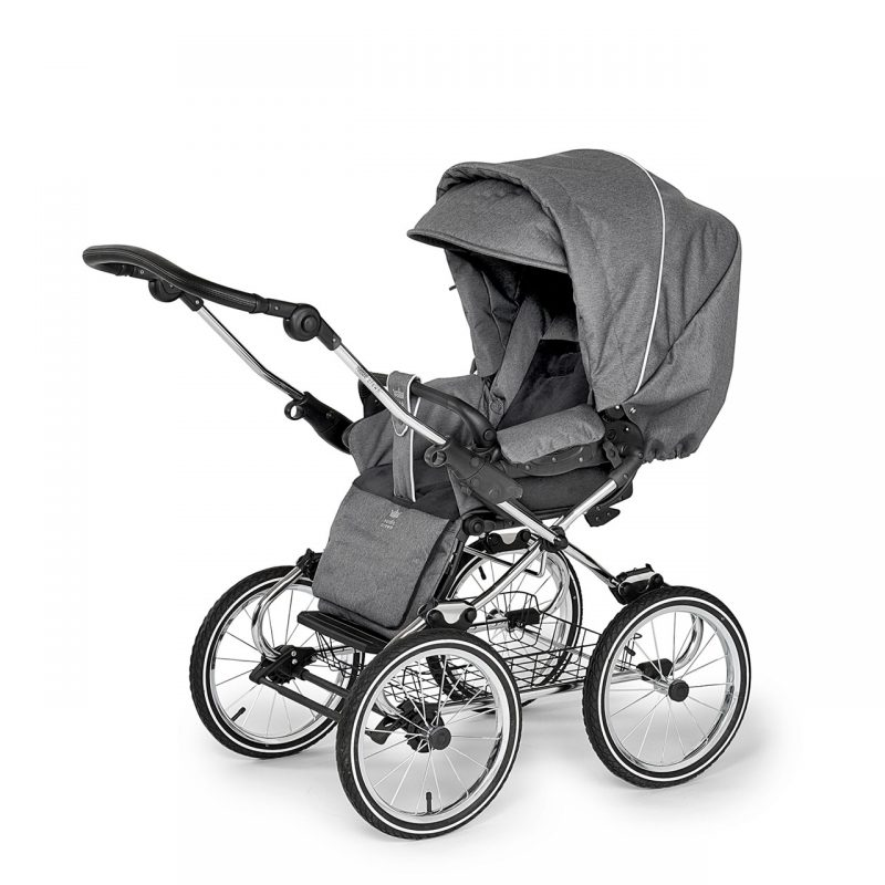 Nordic Crown stroller elegant in dark grey sitting unit with hood unfolded