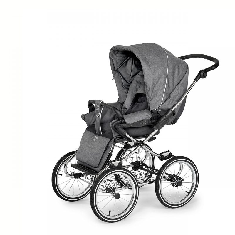 Nordic Crown stroller elegant in dark grey sitting unit reversed