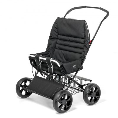 Nordic Crown stroller twinsitty in black